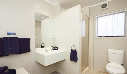 Vanity and full shower
