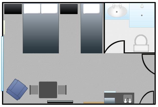 Twin Share Studio Floor Plan